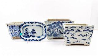 * Three Blue and White Porcelain Jardini-res