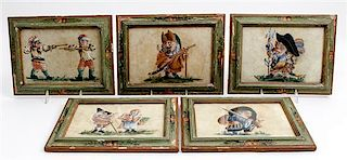 * A Set of Five Continental Satirical Caricatures Framed 8 1/2 x 11 1/4 inches.