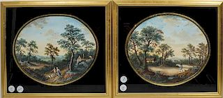 * A Pair of Continental Watercolors Framed 14 3/4 x 17 inches.