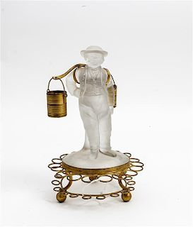 * A Molded Glass and Gilt Metal Figural Stand Height overall 9 1/2 inches.