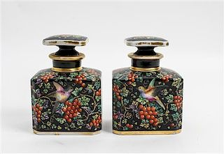 * A Pair of French Porcelain Bottles Height 6 1/2 inches.