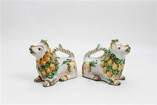 * A Pair of Italian Ceramic Pitchers Width 8 inches.
