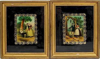 * Four Eglomise Framed Decorative Works First 13 1/2 x 13 1/2 inches.