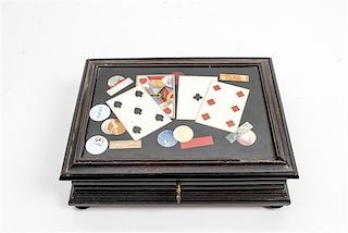 * An Italian Pietra Dura Inset Ebonized Gaming Box Width 10 1/2 inches.