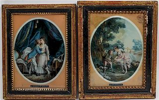 * A Pair of French Eglomise Panels Each 8 1/2 x 6 1/8 inches.