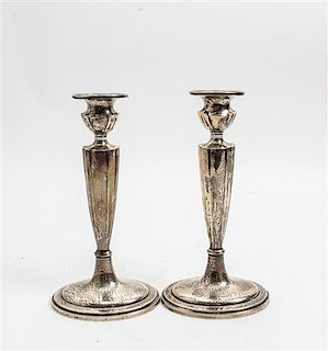 * A Pair of American Silver Candlesticks