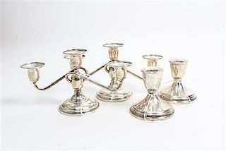 * A Pair of American Silver Three Light Candelabra, Redlich & Co. Height of first pair 4 1/2 inches.