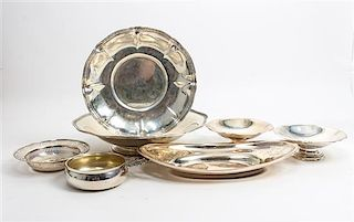 * Seven American Silver Serving Articles, 20TH CENTURY, of various makers, sizes and forms, comprising bowls, dishes and a po