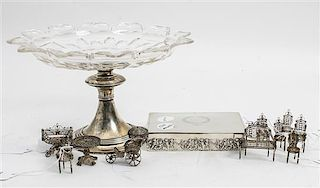 A Collection of Silver Articles, various makers, comprising a Dutch silver and glass mounted tazza, a silver box and a group
