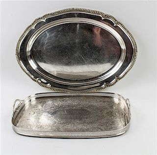 Two Silver-Plate Trays Length of Longest 25 inches.