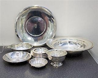 * A Collection of American Silver Table Articles, Various Makers, comprising a Reed & Barton cake dish, Alvin Mfg. Co. bowl,