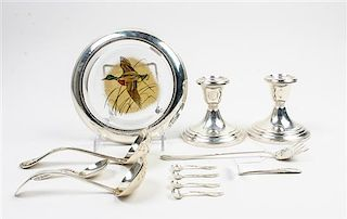 * A Group of American Silver Flatware and Table Articles, Various Makers, comprising a pair of Gorham weighted candlesticks,
