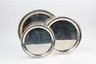 * Three American Silver Trays, Wallace Silversmiths, Wallingford, CT, each of circular form