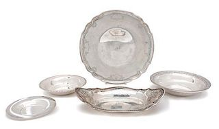 Five American Silver Serving Platters, Various Makers, of various patterns.