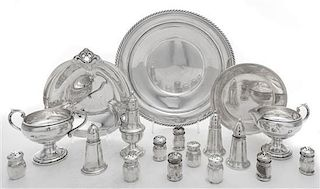 A Collection of Silver Table Articles, , comprising three platters, a creamer, a sugar, nine small casters and five weighted