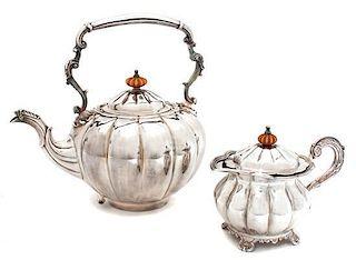 A Silver Teapot and Creamer, ,