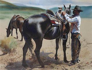 William Matthews, (American, b. 1949), Horses and Man
