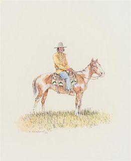 Olaf Wieghorst, (Danish/American, 1899-1988), Indian in Hat on Horseback
