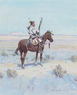 W. Steve Seltzer, (American, b. 1955), Mounted Indian