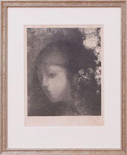 ODILON REDON (1840-1916): TETE D'ENFANT AVEC FLEURS