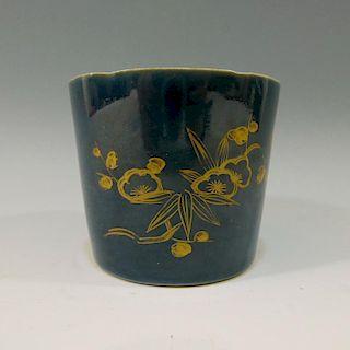 CHINESE ANTIQUE BLUE GLAZE GILT PORCELAIN CUP - KANGXI PERIOD
