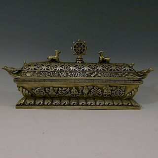 CHINESE ANTIQUE SILVER INCENSE BOX - 19TH CENTURY