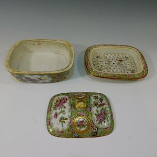 CHINESE ANTIQUE ROSE MEDALLION COVERED DISH - CIRCA 1850