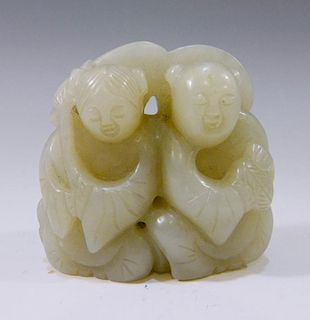 CHINESE ANTIQUE CARVED JADE FIGURE OF TWO BOYS - 19TH CENTURY