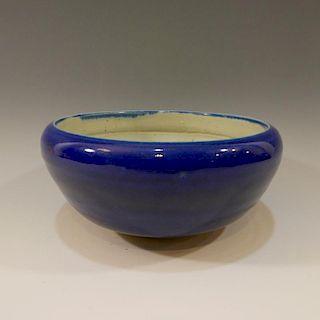 CHINESE ANTIQUE BLUE GLAZED PORCELAIN CENSER 19TH CENTURY