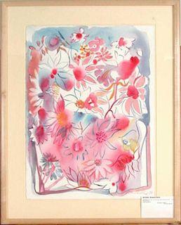 Becker,      Elisabeth Maria,   American, born in France 1942,(pink daisies),