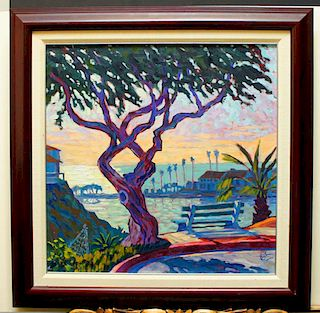 """Cosby, John,   American 20-21st C., """"Old Tree and Bench"""","""