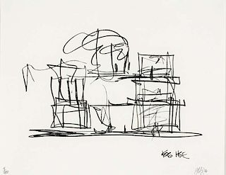 """Gehry,  Frank ,  Canadian-American b. 1929,""""Study for new Gehry House"""" ,"""