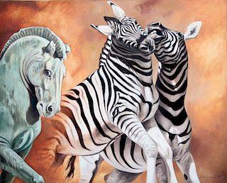 Grove, Kindrie,   American 20-21st C.,(Zebra and Horse Statue),