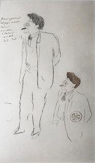 """Cocteau, Jean (After),    French (1889-1963),"""" Portrait d'Hermann Dietz """"Double Portrait of Herman Dietz"""" ,"""