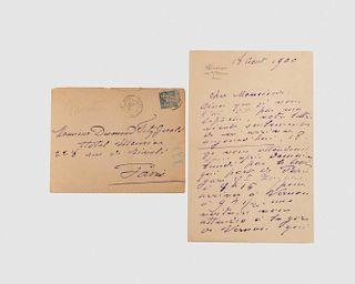 Claude Monet Autograph, in a letter to Monsieur Desmond Fitzgerald, dated 18 August, 1900