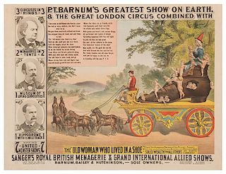 P.T. Barnum's Greatest Show on Earth, & Great London Circus. The Old Woman Who Lived in a Shoe.