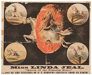"""Miss Linda Jeal, """"Queen of the Flaming Zone"""". One of the Features of P.T. Barnum's Greatest Show on Earth."""