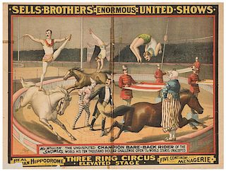 Sells Brothers Enormous United Shows. Mr. William Showles The Undisputed Champion Bare-Back Rider of the World.