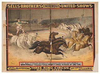 Sells Brothers Enormous United Shows. Wm. O'Dell The Hercules Horseman.