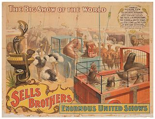 Sells Brothers Enormous United Shows. Interior View of the Great Five Continent Menagerie.