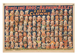 Ringling Brothers and Barnum & Bailey. 100 Clowns. Special Congress of Clowns Gathered This Year.