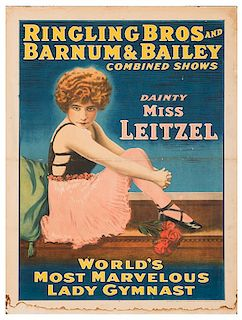 Ringling Brothers and Barnum & Bailey. Dainty Miss Leitzel. World's Most Marvelous Lady Gymnast.