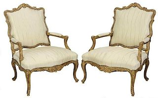 Pair Chippendale Style Gilt Wood Open Arm Chairs