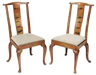 Pair Queen Anne Style Chinoiserie Side Chairs