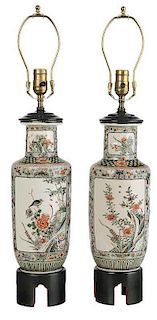 Pair Famille Verte Vases Converted to Lamps
