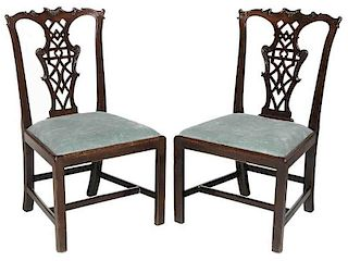 Pair Chinese Chippendale Mahogany Side Chairs