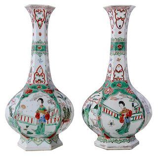 Pair of Chinese Enameled Long Neck Vases