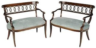 Pair Regency Style Parcel Gilt Mahogany Settees