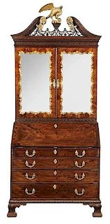 Chippendale Figured Mahogany Desk and Bookcase