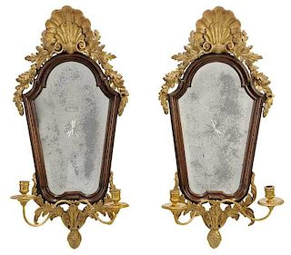 Pair Queen Anne Style Parcel Gilt Girandoles